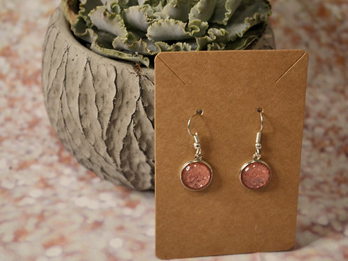 Coral Glitter Earrings