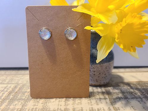 Silver Super Sparkle Glitter Earrings