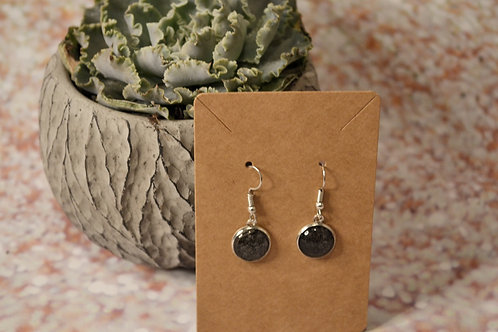 Black Solid and Silver Glitter Earrings