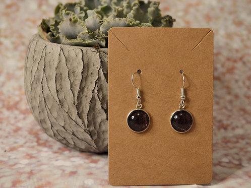 Black Solid with Red Glitter Earrings