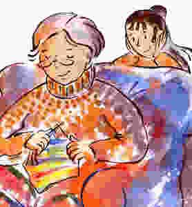 Lulu watches Grand-mère while she knits.