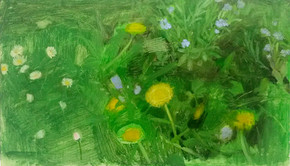 Fleurs, 23x40cm, oil on wood, 2014 _ private collection