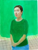 Petit autoportrait phtalo, 44x35cm, oil on wood, 2014 _ private collection