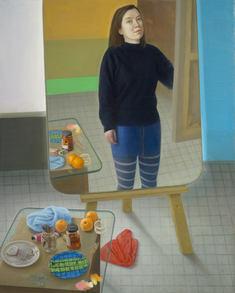 Grand autoportrait en pied dans l'atelier, 160x130cm, oil on canvas, 2013-15