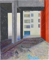 Dans la cours_39x30cm_oil pastel on paper_2020_private collection