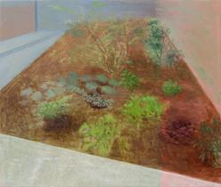 Jardin dans la cour, 44x52cm, oil on wood, 2018