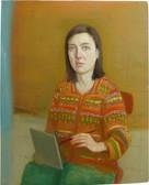Petit autoportrait avec gilet à motifs, 40x31cm, oil on wood, 2013-14 _ private collection