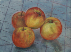 Pommes, 15x20 cm, oil on wood, 2019 _ private collection