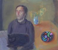 Le peintre abstrait, 19x22cm, oil on wood, 2014 _ private collection