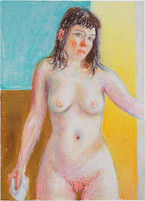 Nu boudeur_ 35x29cm_oil pastel on paper_2020_private collection