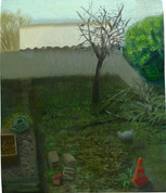 Jardin avec compost, 22x15cm, oil on wood, 2015 _ private collection