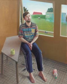 Dmitrij dans l'atelier, 160x130cm, oil on canvas, 2013 _ Private collection