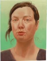 Autoportrait sur fond turquoise, 30x23cm, oil on wood, 2013 _ private collection