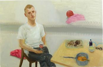 Yann dans l'atelier avec rosé, 33x51cm, oil on wood, 2014 _ private collection