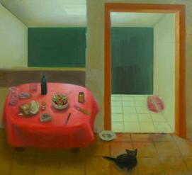 Kali dans la cuisine, 29x33cm, oil on wood, 2014 _ private collection