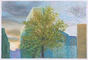 Métro Pyrenées le soir_23x16cm_oil pastel on paper_2020