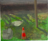 Jardin avec parpaings, 25x30cm, oil on wood, 2014 _ private collection