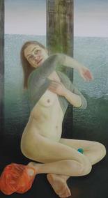 Valentina accueillant son destin, 130x70 cm, oil on wood, 2017
