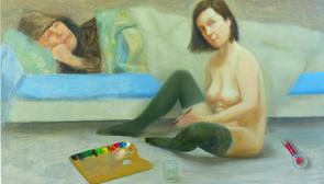 Le peintre et son modèle, 22x37cm, oil on wood, 2014 _ private collection