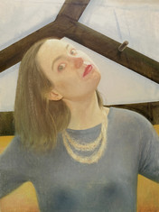 Tête penchée, 49x36 cm, oil on wood, 2017