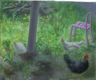 Jardin avec poules, 20x24cm, oil on wood, 2014-16 _ private collection