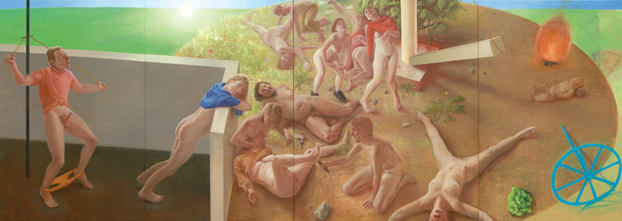 Bacchanales, 190x520cm, oil on canvas, 2013 _ private collection