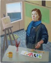 Autoportrait en peintre, 49x40cm, oil on wood, 2013 _ private collection