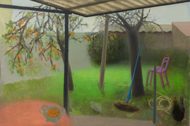 Jardin avec abricots, 41x60cm, oil on wood, 2014-15 _ private collection