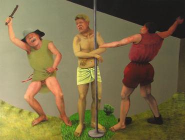 Flagellation, 180x250cm, oil on paper, 2009
