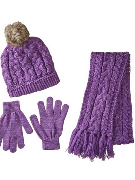 Toby & Co. Big Girls' 3Pc Chunky Cable Knit Set