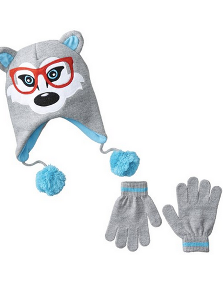 Skr Club Nerdy Wolf Knit Hat and Glove Set