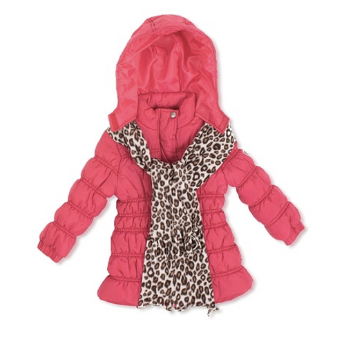 Pink Platinum Girls Quilted Puffer with Scarf, 3T