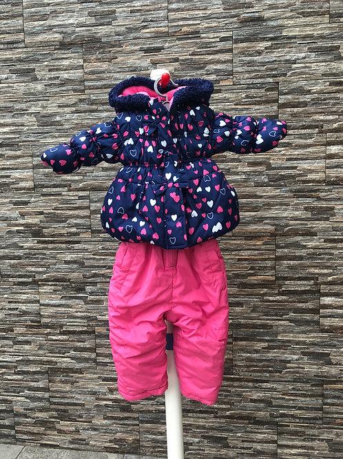 Pink Platinum Snowsuit, 12m.