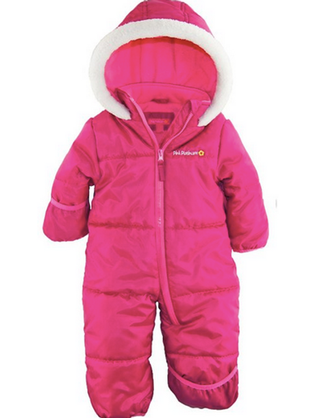 Pink Platinum One Piece Puffer Snow Suit, 12 mon.
