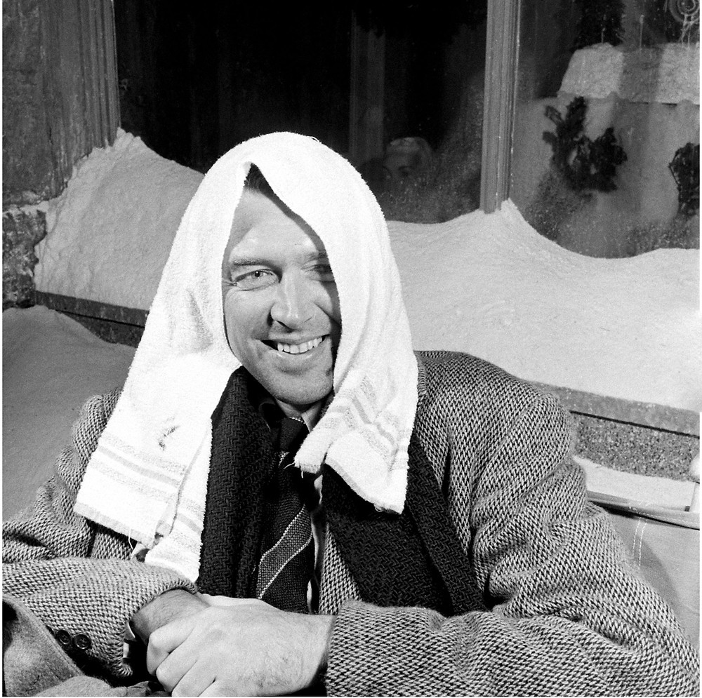 Jimmy Stewart goofing of on the set of It's A Wonderful Life