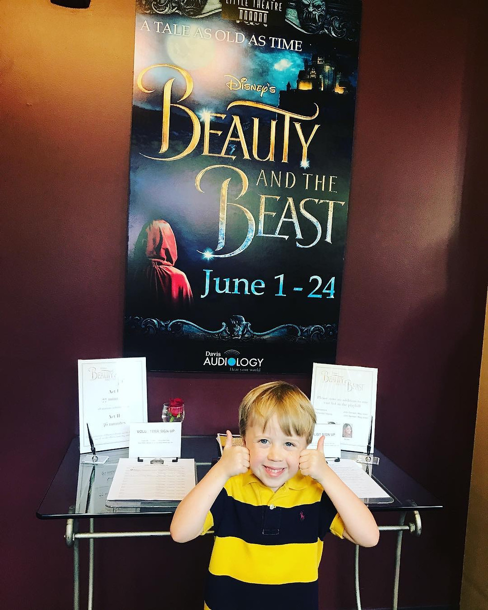 Cohen with the Beauty and the Beast poster at Greenville Theatre.