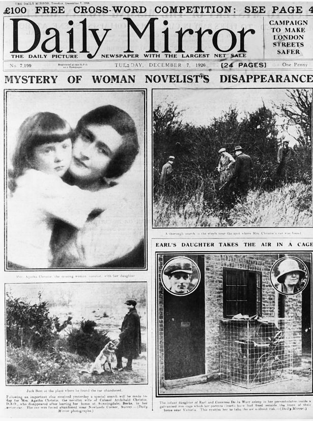 Newspaper article about Agatha Christie's disappearance.