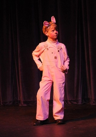 Moore in his first stage role of Wilbur in Charlotte's Web.