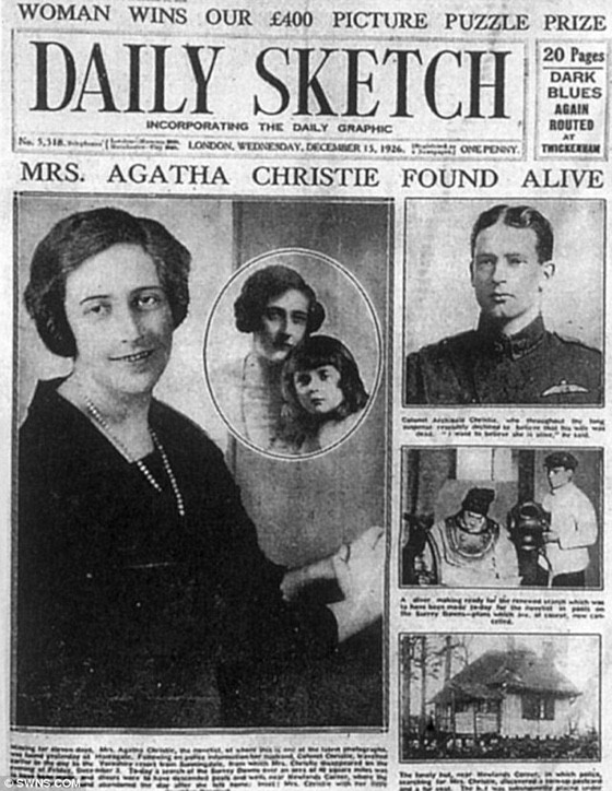 Newspaper article about Agatha Christie being found alive.