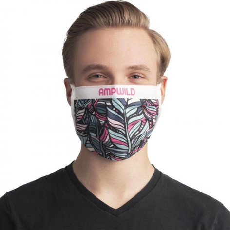Pleated cotton reusable face mask with company logo