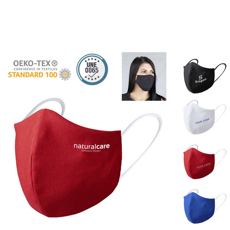 Embroidered far masks with company logo for men and women