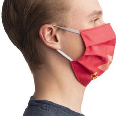 Pleated cotton face masks with logo embroidered
