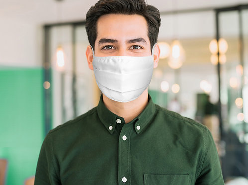 New! Logo Printed Pleated White Cotton Face Mask from