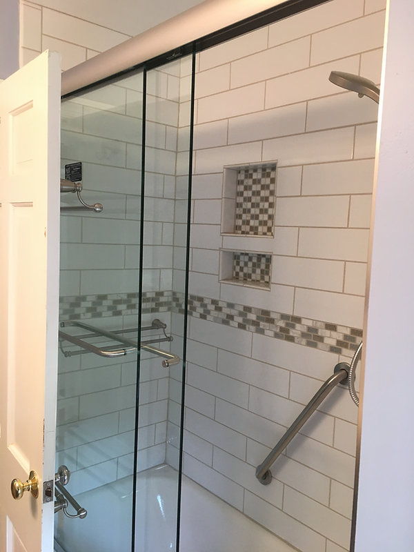 New shower with seamless glass doors