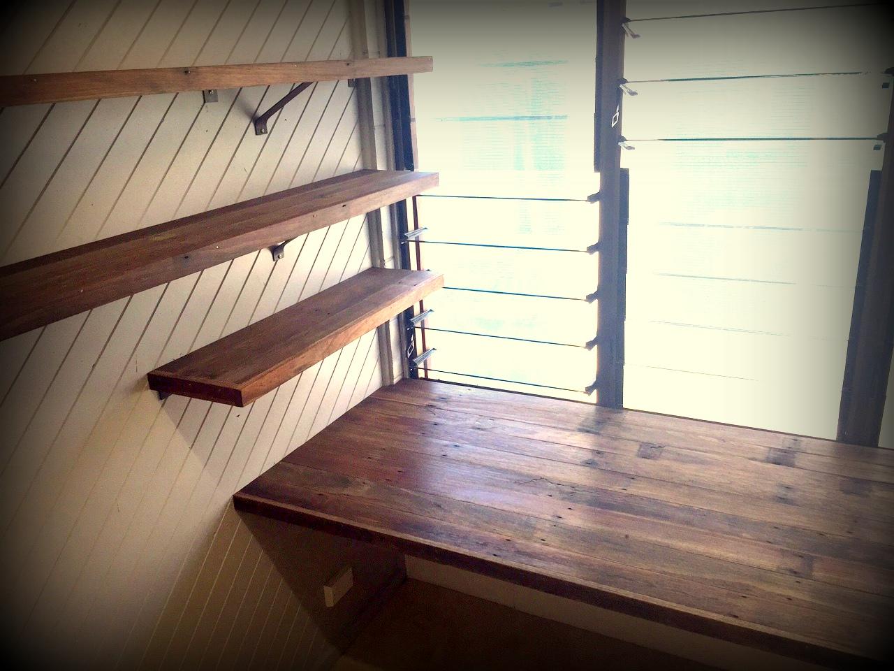 Floating Timber Desk and Shelves