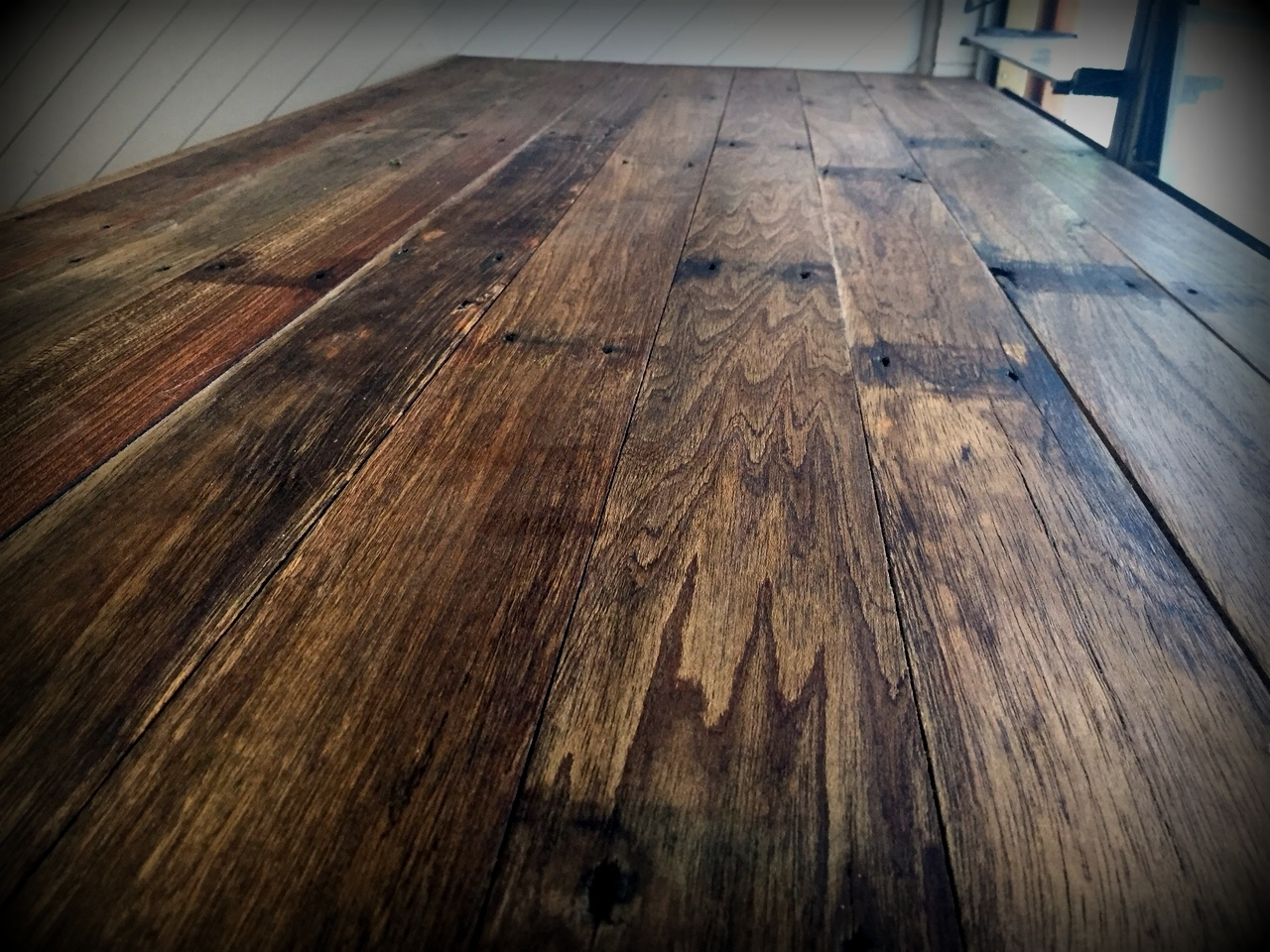 Desk made from old floorboards