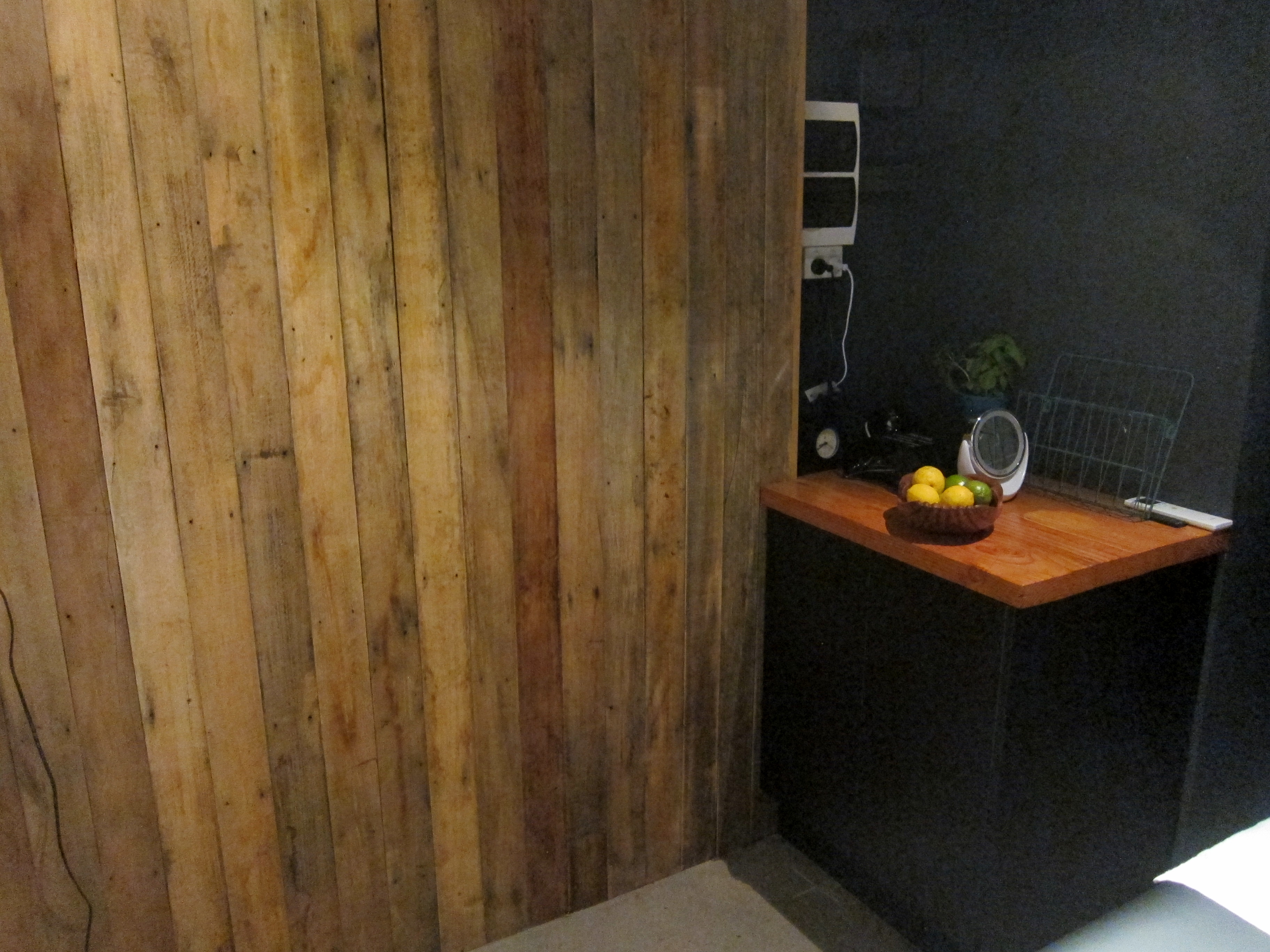 Recycled timber wall and counter