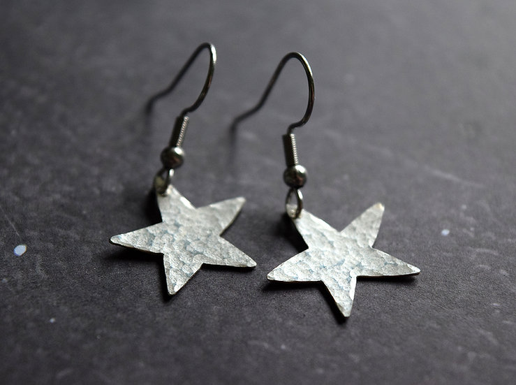 Moon and Star Silver Textured Drop Earrings
