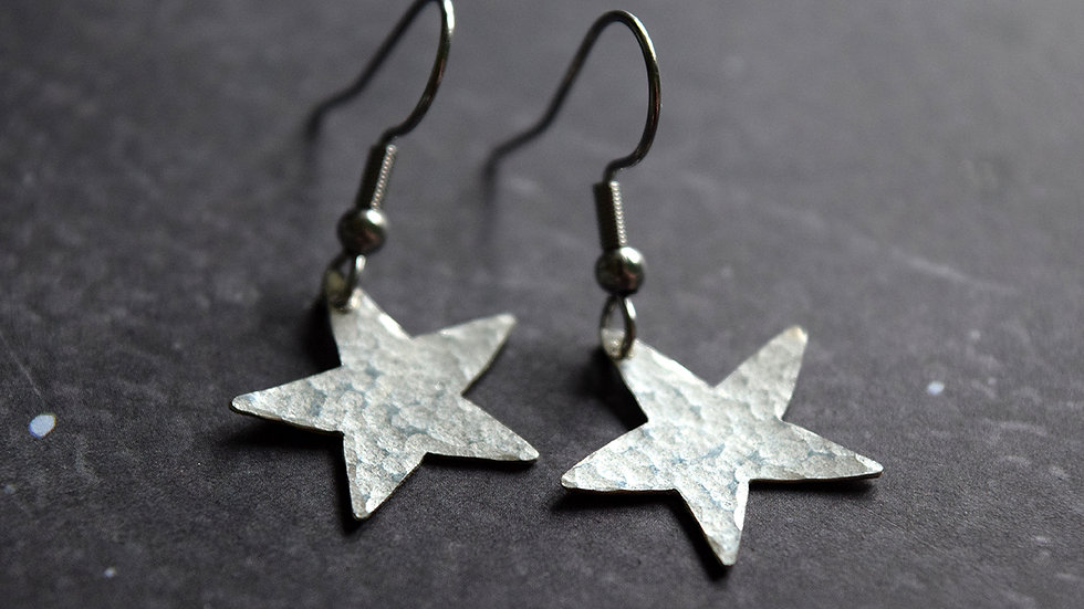 Moon and Star Textured Drop Earrings