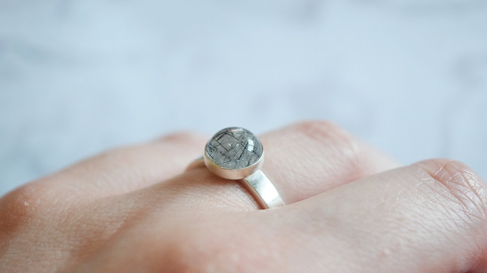 Tourmalinated Quartz Ring